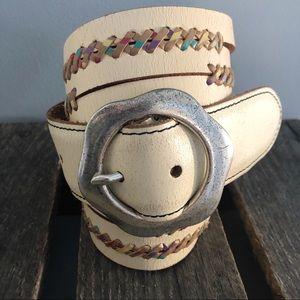 Lucky Brand Belt Cream Distressed BOHO